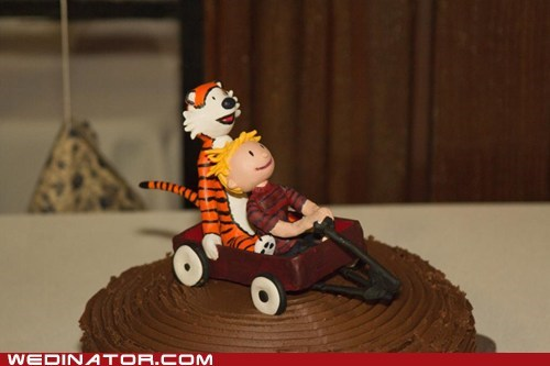 wagon calvin and hobbes custom cute cake topper - 6987190272
