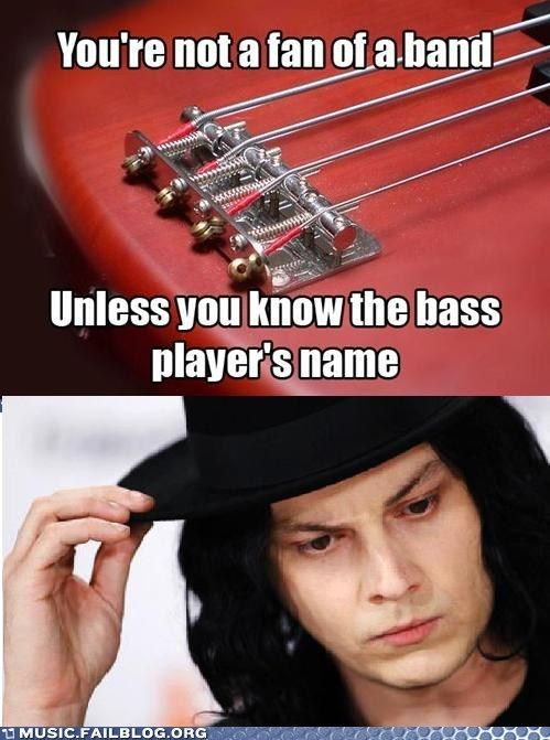 bass players,fans,bands,the white stripes