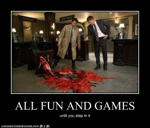 Blood,jensen ackles,anvil,crushed,all fun and games,Supernatural,dean winchester,misha collins,step in it,castiel