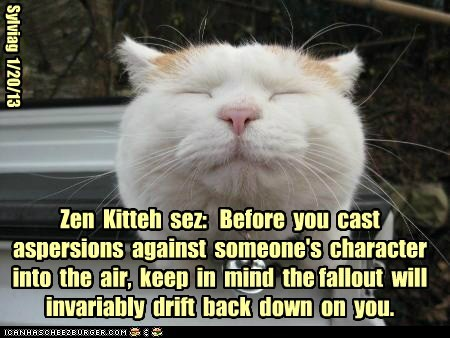 Zen  Kitteh  sez:   Before  you  cast aspersions  against  someone's  character  into  the  air,  keep  in  mind  the fallout  will  invariably  drift  back  down  on  you.