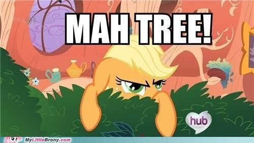 applejack,mine,not a background pony,tree