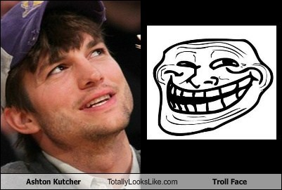 Ashton Kutcher Totally Looks Like Troll Face