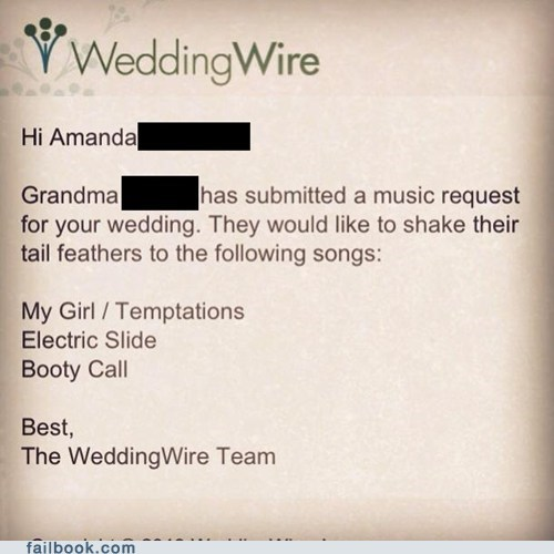 grandma,booty call,wedding