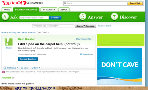 poop,creying,yahoo answers