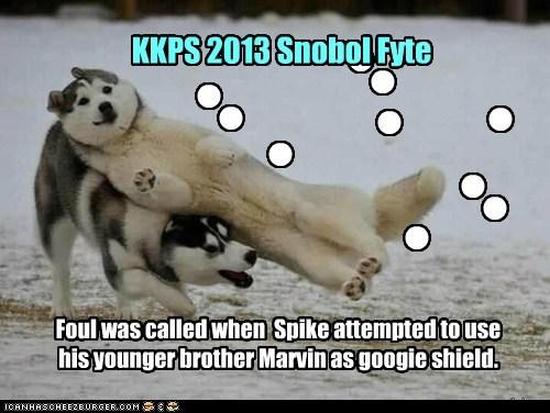 Foul was called when Spike attempted to use his younger brother Marvin as googie shield. n n n n n n n n n n KKPS 2013 Snobol Fyte