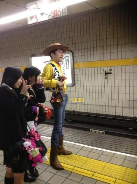 subway station woody cosplay toy story