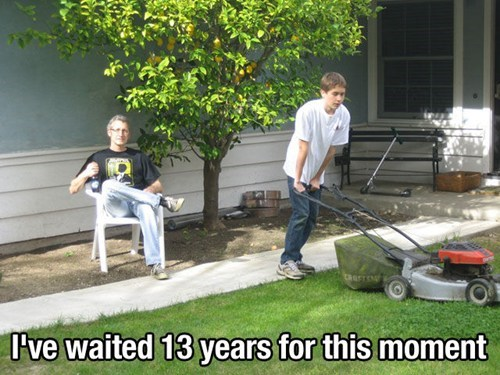 fatherson mowing the lawn chores - 6991326720