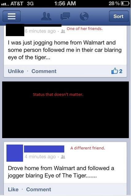 mystery solved,jogging,eye of the tiger,facebook,Walmart