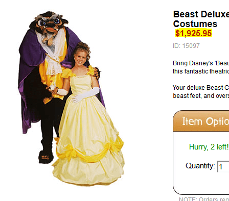 costume,Beauty and the Beast,affordability,ugly