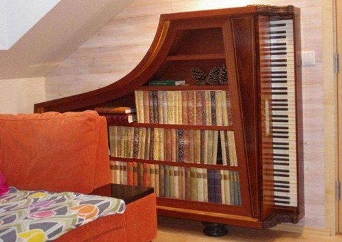piano,reading is sexy,design,shelf