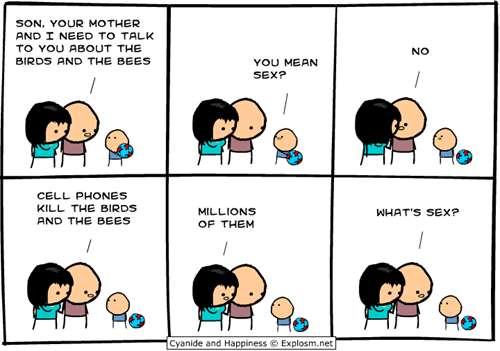 cell phones,cyanide and happiness,comics,birds and the bees