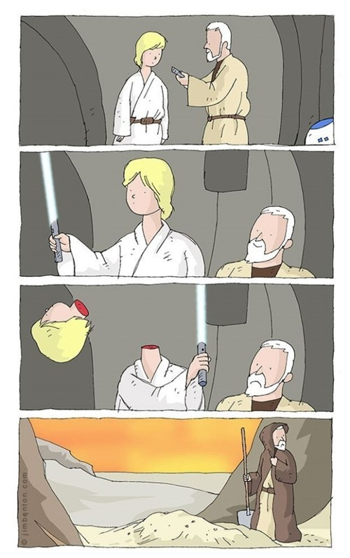 obi wan kenobe,lightsaber,star wars,accident,decapitated,luke skywalker
