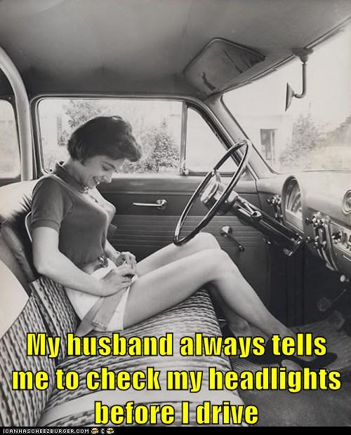 seatbelt woman car headlights bosoms