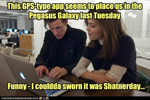 This GPS-type app seems to place us in the Pegasus Galaxy last Tuesday Funny - I couldda sworn it was Shatnerday...