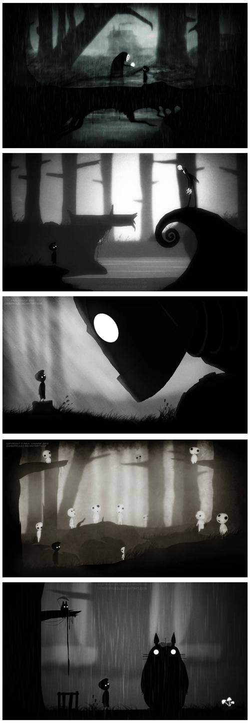 crossover,anime,Fan Art,the nightmare before christmas,studio ghibli,limbo,video games,the Iron Giant