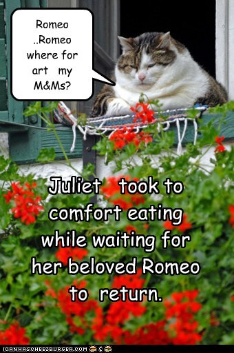 Romeo ..Romeo where for art my M&Ms? Juliet took to comfort eating while waiting for her beloved Romeo to return.