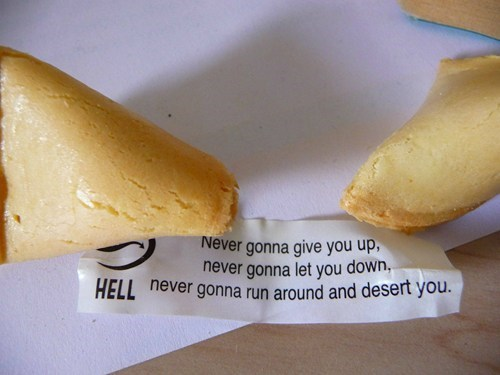 fortune cookie rick roll food rick astley g rated win