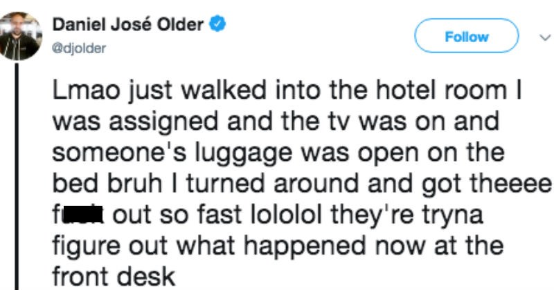 hotel tweets mistaken identity author error twitter creepy Awkward live tweet story mistake luggage - 6993669
