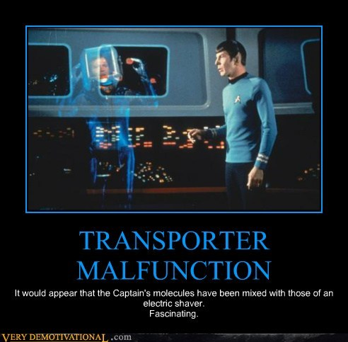 Captain Kirk,Spock,transpoter,malfunction,Star Trek