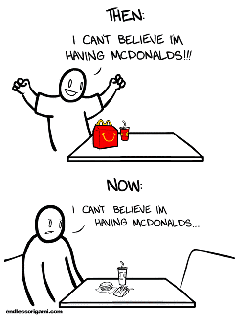 then vs now,McDonald's,endless origami