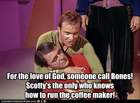 Captain Kirk,scotty,emergency,doctor,coffee machine,died,William Shatner,Shatnerday,james doohan
