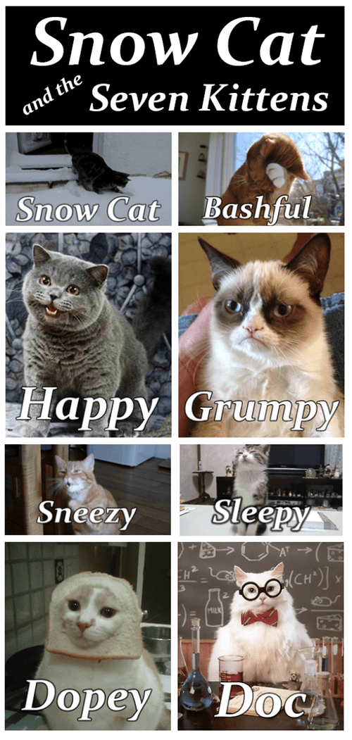 tardar sauce inbread fairy tale snow white comic Grumpy Cat Cats happy cat image - 6994115584