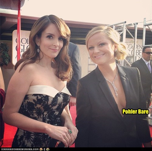golden globes,cleavage,polar bear,tina fey,puns,Amy Poehler,dress,bare