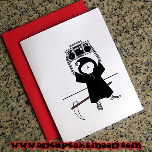 Say Anything,grim reaper,valentine,boombox,card