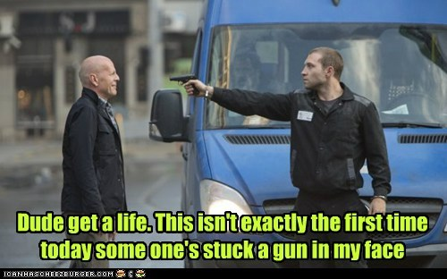 guns,bruce willis,get a life,die hard,laughing
