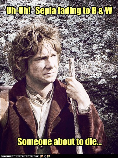 Martin Freeman Bilbo Baggins sepia die spoiler The Hobbit black and white filter