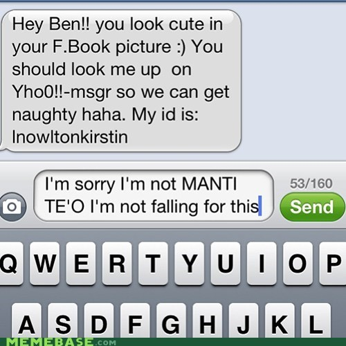 manti te'o texting spam sms - 6995547904