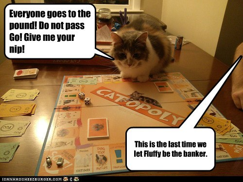 cat game banker monopoly funny