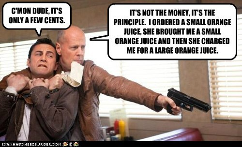 orange juice joe bruce willis charge angry diner Joseph Gordon-Levitt - 6996657920