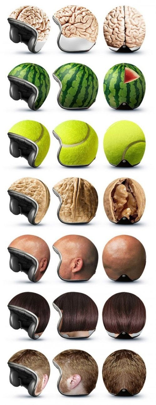 motorcycle helmets brains tennis balls nuts
