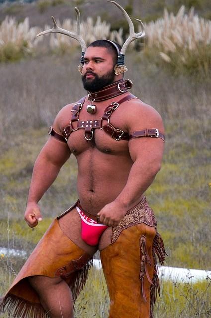 chaps,deer horns,underwear