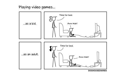 then vs now,bed time,comic,video games