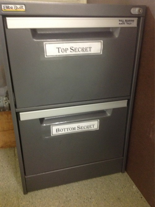 labels top file cabinet literalism bottom top secret