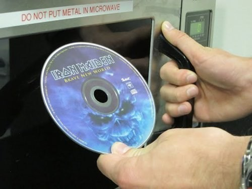 cds,iron maiden,microwave