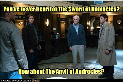 damocles anvil Supernatural misha collins sam winchester Jared Padalecki sword castiel - 6997449984