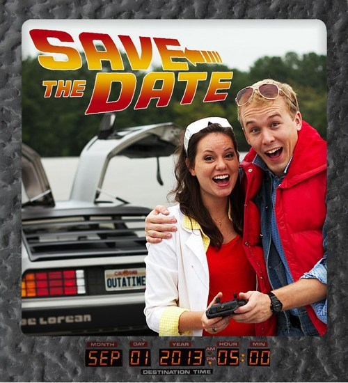 DeLorean back to the future save the date cute Photo - 6997615360