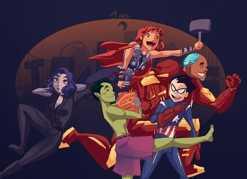 art teen titans costume avengers - 6997624320