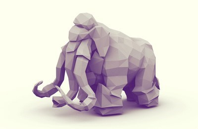 geometrical,art,print,mammoth,gray