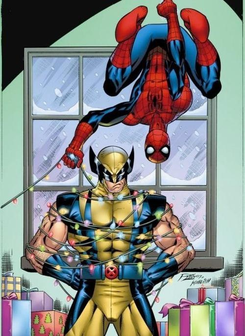 christmas,lights,Spider-Man,wolverine