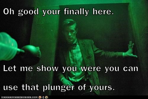 the doctor,daleks,Matt Smith,bathroom,doctor who,plunger