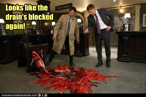 Blood jensen ackles anvil Supernatural dean winchester misha collins castiel blocked drain - 6997987584