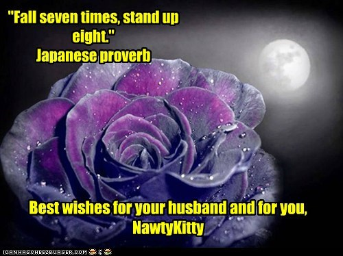 """""""Fall seven times, stand up eight.""""Japanese proverb Best wishes for your husband and for you, NawtyKitty"""