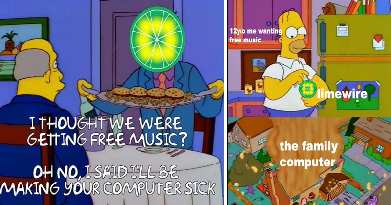 Funny memes about Limewirem, the simpsons.