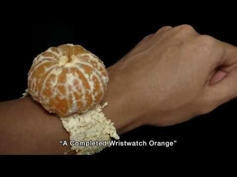 orange time wristwatch clock
