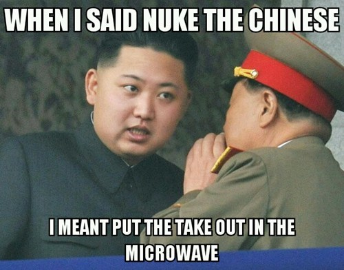nuke kim jong-un misinterpretation food double meaning takeout microwave chinese