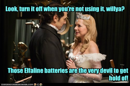 glinda,glowing,Michelle Williams,turn it off,James Franco,oz the great and powerful,batteries
